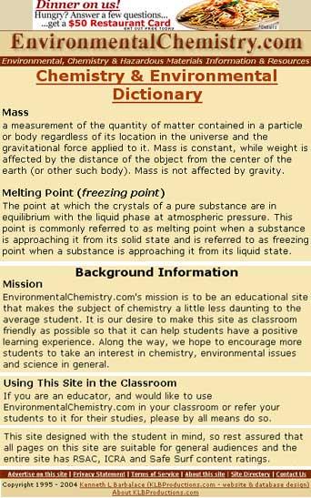 the dictionary of EnvironmentalChemistry.com